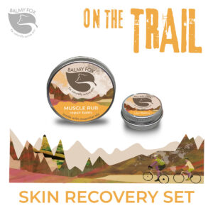 Recovery muscle rub and lip balm for runners,riders,cyclists and walkers